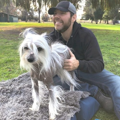 Michael giving a dog client a much-needed canine massage outdoors